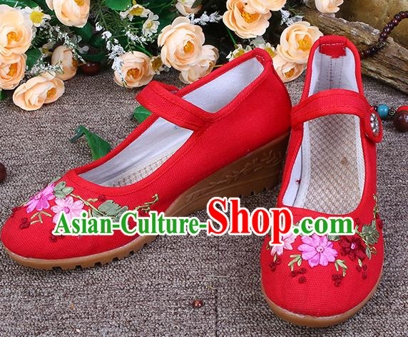 Asian Chinese Wedding Shoes Red Embroidered Shoes, Traditional China Embroidery Princess Shoes Hanfu Shoes for Women