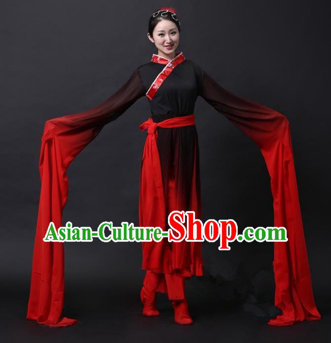 Traditional Chinese Yangge Folk Dance Water Sleeve Costume, China Yanko Classical Dance Clothing for Women