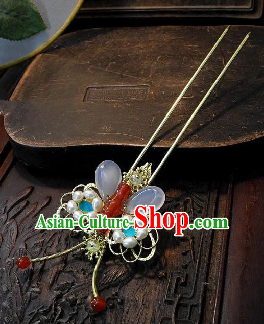 Chinese Handmade Classical Hair Accessories Jade Butterfly Hairpins Ancient Hair Clip Headdress for Women