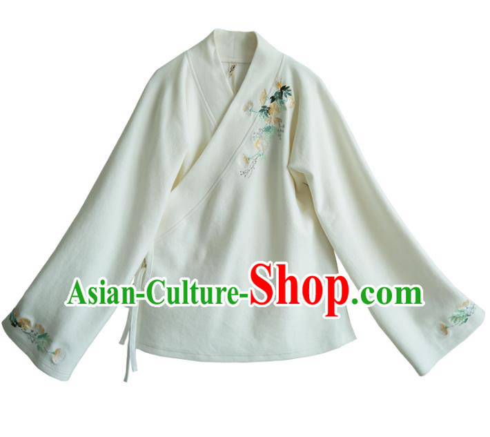 Traditional Chinese National Costume Embroidered Hanfu White Blouse Tangsuit Shirts for Women