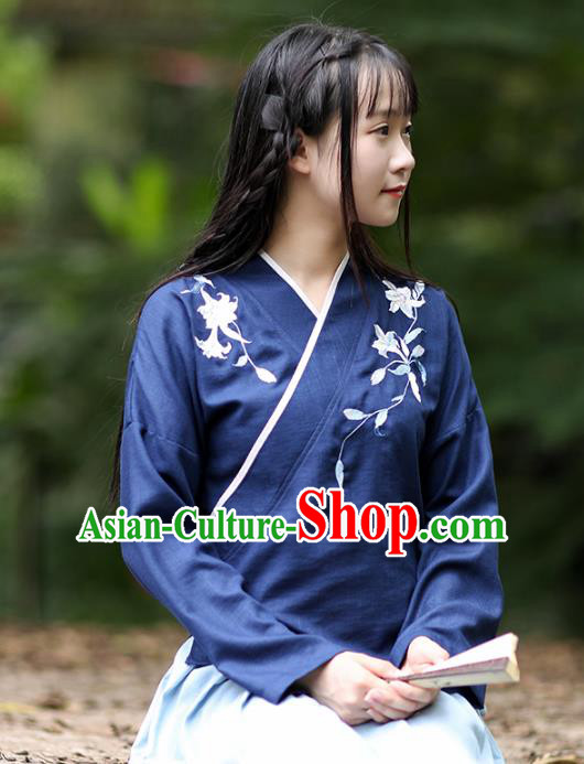 Traditional Chinese National Costume Embroidered Blouse Tang Suit Hanfu Blue Shirts for Women