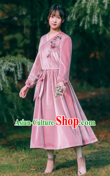 Traditional Chinese National Costume Embroidered Pink Dress Tang Suit Hanfu Dress for Women