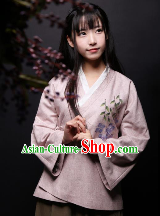 Traditional Chinese National Costume Printing Blouse Tang Suit Hanfu Shirts for Women