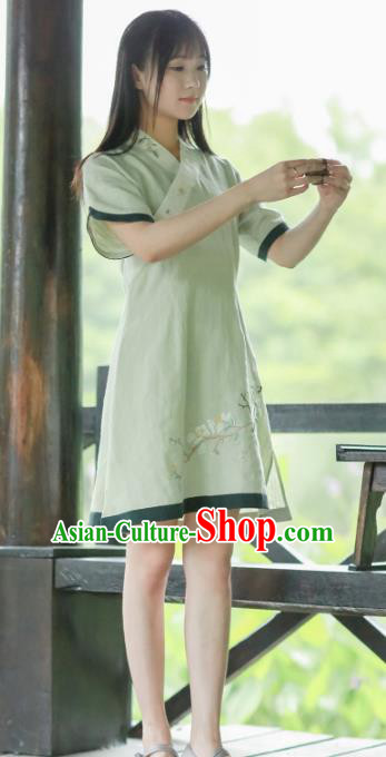 Traditional Chinese National Costume Green Embroidered Cheongsam Tang Suit Hanfu Dress for Women
