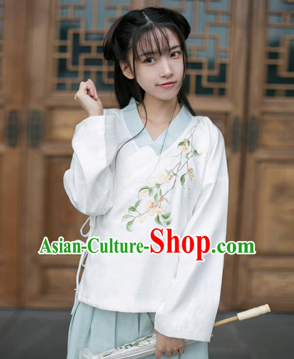 Traditional Chinese National Costume Embroidered Cheongsam White Blouse Tang Suit Hanfu Shirts for Women
