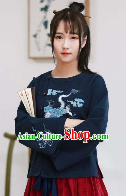 Traditional Chinese National Costume Embroidered Dragons Cheongsam Blouse Hanfu Shirts for Women