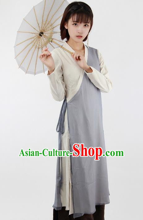 Traditional Chinese National Costume Embroidered Cheongsam Shirts Hanfu Grey Dress for Women