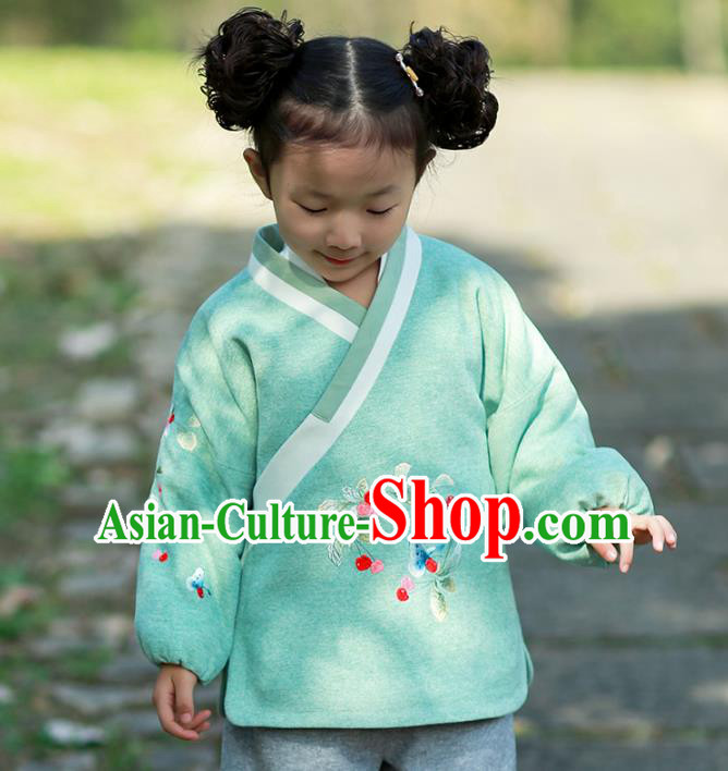 Traditional Chinese National Costume Embroidered Shirts Hanfu Blouse for Kids
