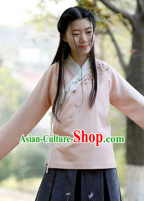Traditional Chinese National Costume Embroidered Pink Shirts Hanfu Cheongsam Blouse for Women