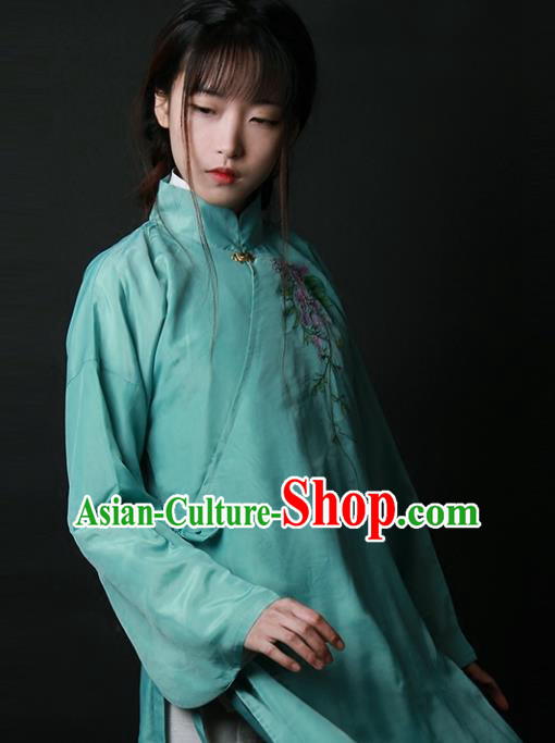 Traditional Chinese National Costume Embroidered Shirts Hanfu Cheongsam Green Blouse for Women