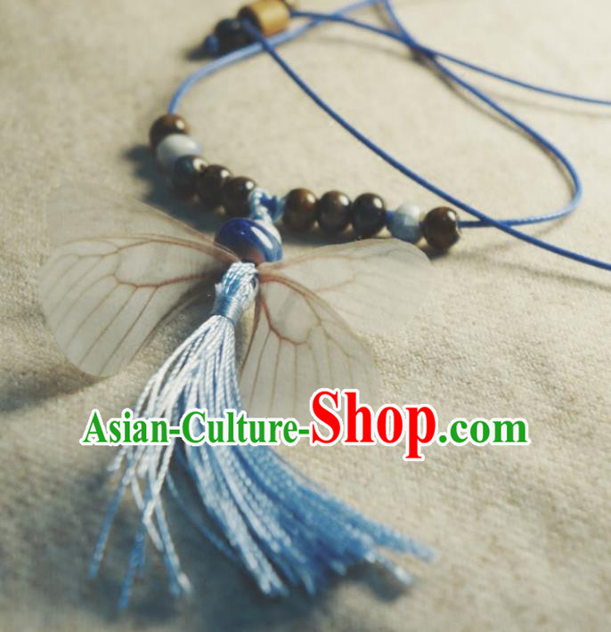 Traditional Chinese Pendant Accessories Blue Tassel Necklace for Women