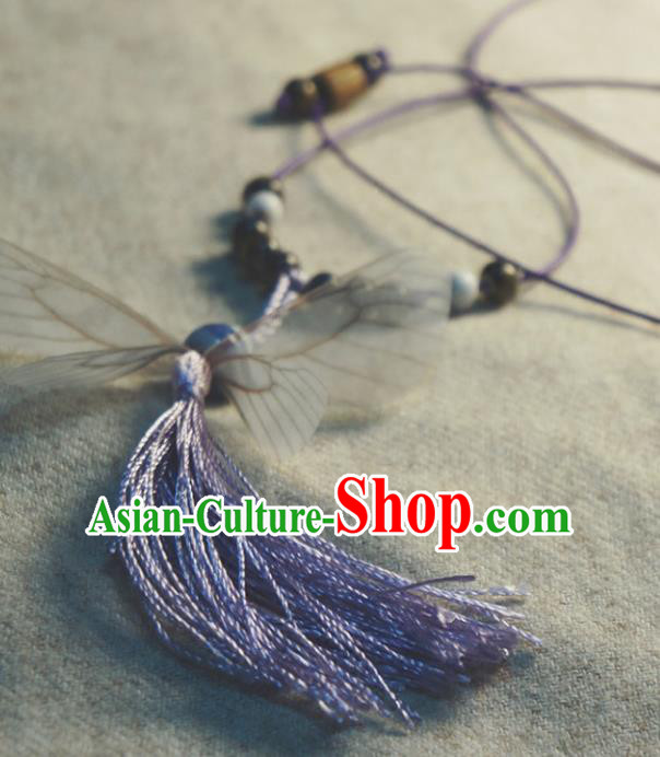 Traditional Chinese Pendant Accessories Purple Tassel Necklace for Women