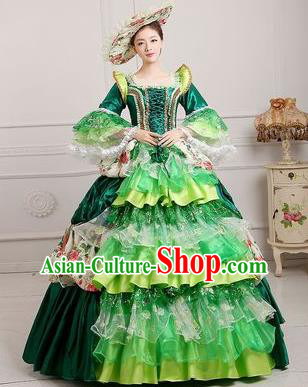 Traditional European Court Princess Renaissance Costume Dance Ball Dowager Green Full Dress for Women