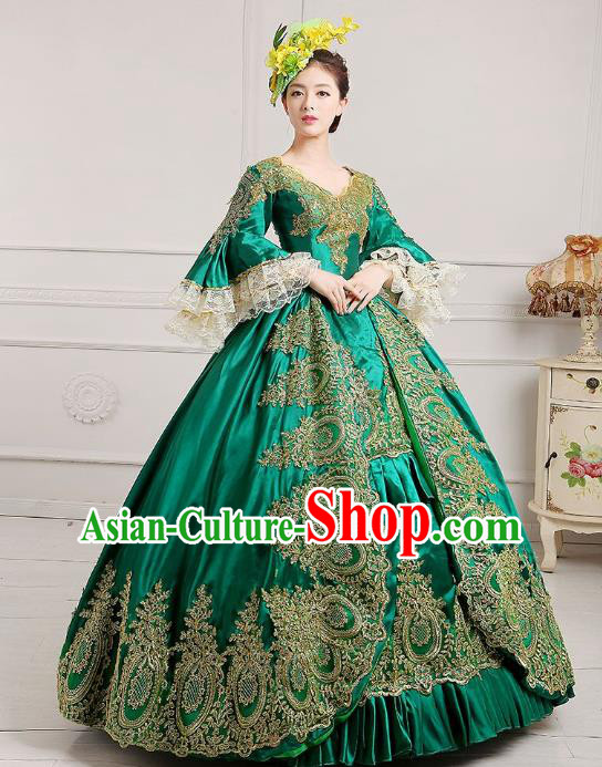Traditional European Court Princess Renaissance Costume Dance Ball Green Lace Full Dress for Women