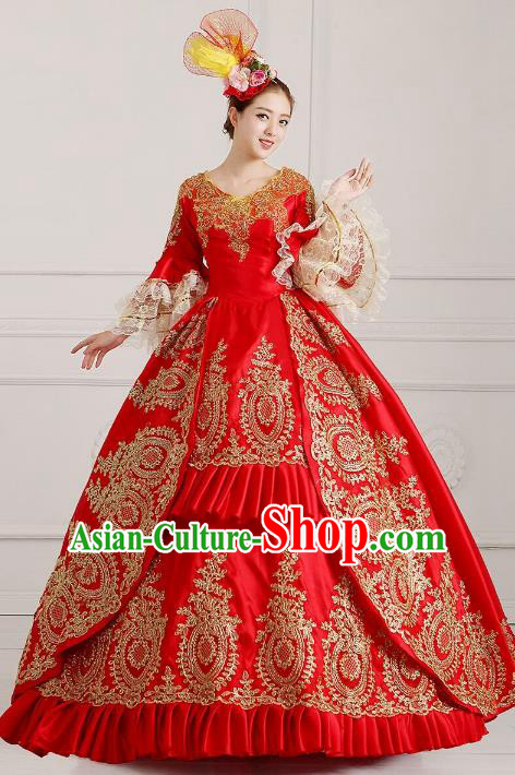 Traditional European Court Princess Renaissance Costume Dance Ball Red Lace Full Dress for Women