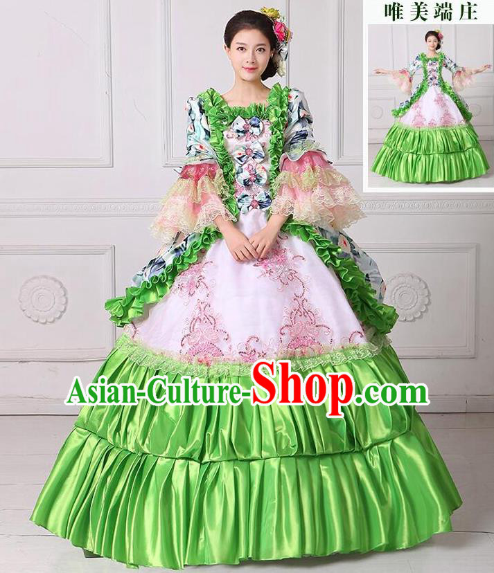 Traditional European Court Noblewoman Renaissance Costume Dance Ball Princess Green Dress for Women