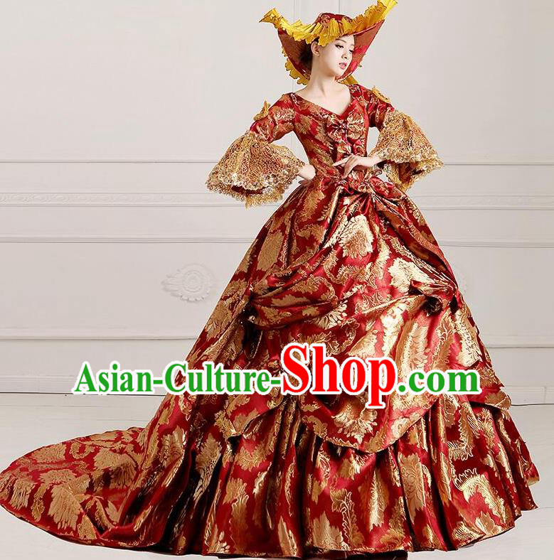 Traditional European Court Noblewoman Renaissance Costume Dance Ball Princess Palace Trailing Red Dress for Women