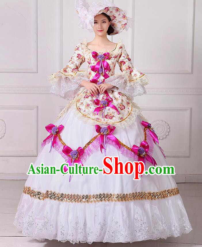 Traditional European Court Noblewoman Renaissance Costume Dance Ball Princess Rosy Bowknot Dress for Women