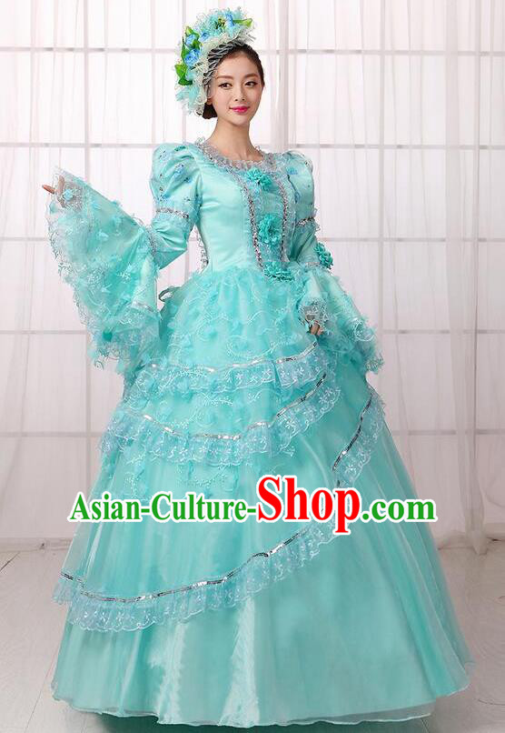 Traditional European Court Noblewoman Renaissance Costume Dance Ball Princess Green Veil Dress for Women