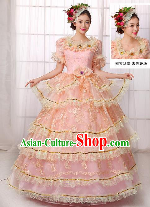 Traditional European Court Noblewoman Renaissance Costume Dance Ball Princess Pink Lace Full Dress for Women