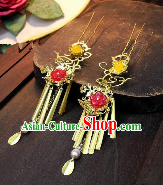 Chinese Handmade Classical Hair Accessories Ancient Wedding Hanfu Copper Hairpins for Women