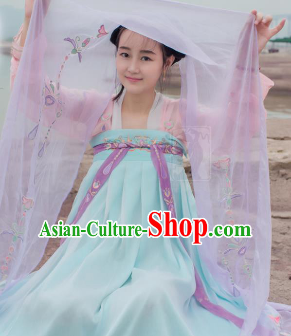 China Traditional Tang Dynasty Palace Lady Costume Ancient Princess Embroidered Dress for Women