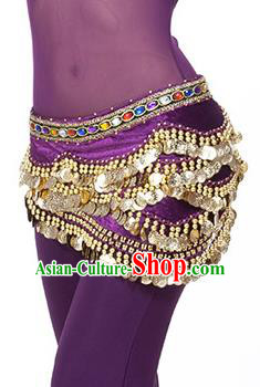 Traditional Asian Indian Belly Dance Waist Accessories Purple Waistband India National Dance Belts for Women