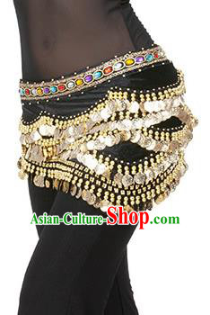 Traditional Asian Indian Belly Dance Waist Accessories Black Waistband India National Dance Belts for Women