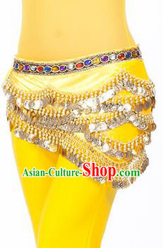 Traditional Asian Indian Belly Dance Waist Accessories Yellow Waistband India National Dance Belts for Women