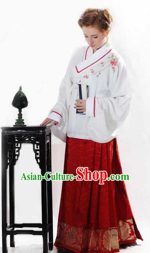 China Ancient Palace Lady Costume Ming Dynasty Dowager Blouse and Horse-face Skirts for Women