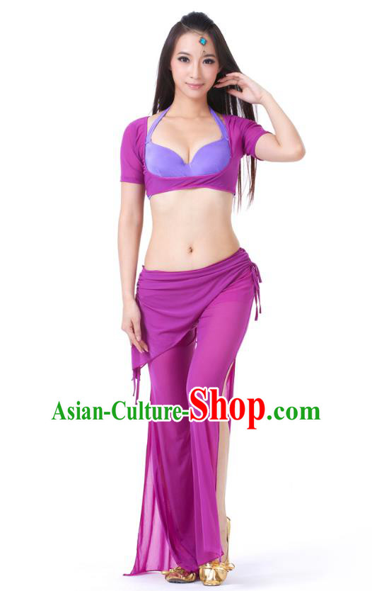 Asian Indian Belly Dance Purple Uniform India Raks Sharki Dress Oriental Dance Clothing for Women