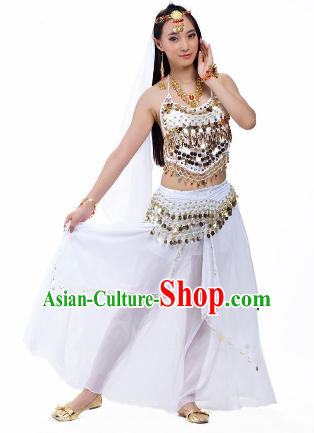 Top Indian Belly Dance Costume Oriental Dance White Dress, India Raks Sharki Clothing for Women