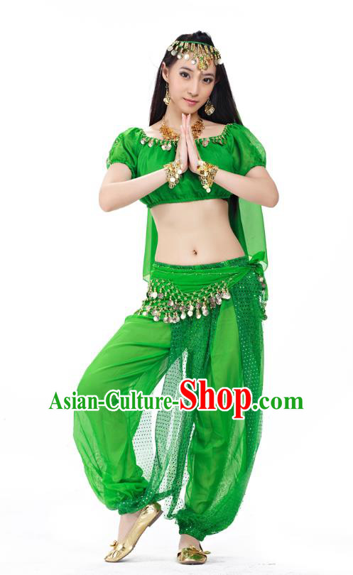 Top Indian Bollywood Belly Dance Costume Oriental Dance Green Dress, India Raks Sharki Clothing for Women