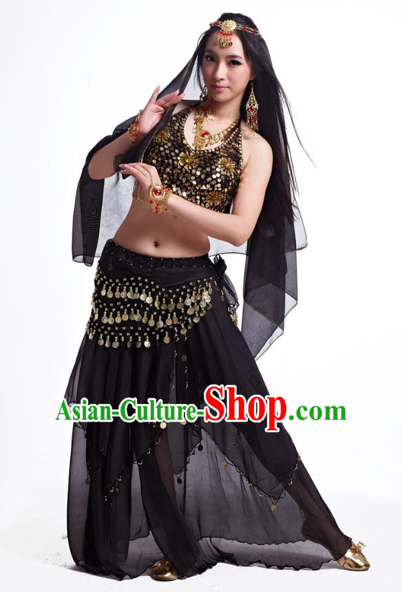 Indian Belly Dance Costume Oriental Dance Black Dress, India Raks Sharki Bollywood Dance Clothing for Women