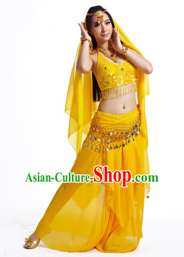 Indian Belly Dance Costume Oriental Dance Yellow Dress, India Raks Sharki Bollywood Dance Clothing for Women