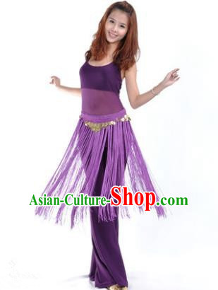 Indian Belly Dance Yoga Purple Suits, India Raks Sharki Dance Clothing for Women