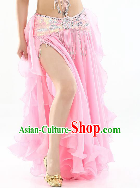 Top Indian Belly Dance Costume High Split Pink Skirt Oriental Dance Stage Performance Clothing for Women