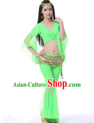 Asian Indian Belly Dance Training Green Uniform India Bollywood Oriental Dance Clothing for Women