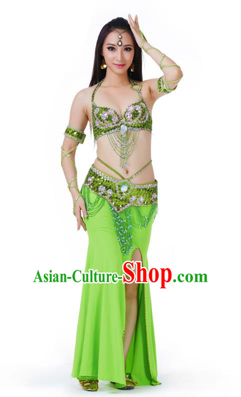 Indian Traditional Belly Dance Light Green Dress Asian India Sexy Oriental Dance Costume for Women