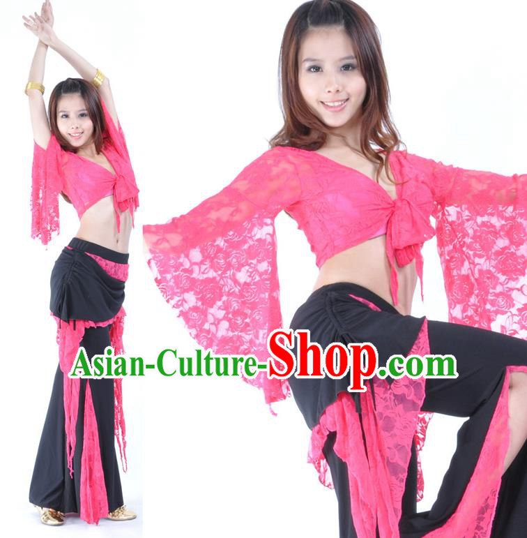 Indian Traditional Belly Dance Rosy Lace Clothing Asian India Oriental Dance Costume for Women