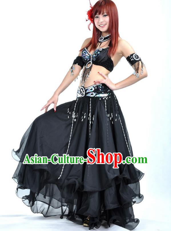 Indian Bollywood Belly Dance Black Dress Clothing Asian India Oriental Dance Costume for Women
