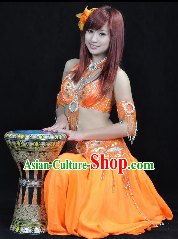 Indian Bollywood Belly Dance Orange Dress Clothing Asian India Oriental Dance Costume for Women