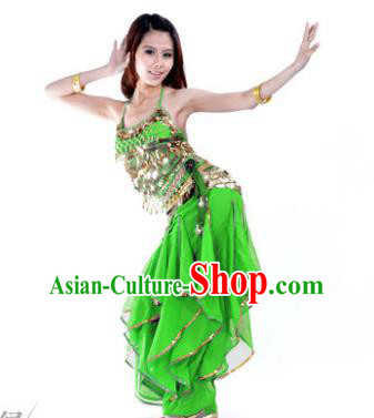 Indian Traditional Belly Dance Costume Asian India Oriental Dance Green Clothing for Women