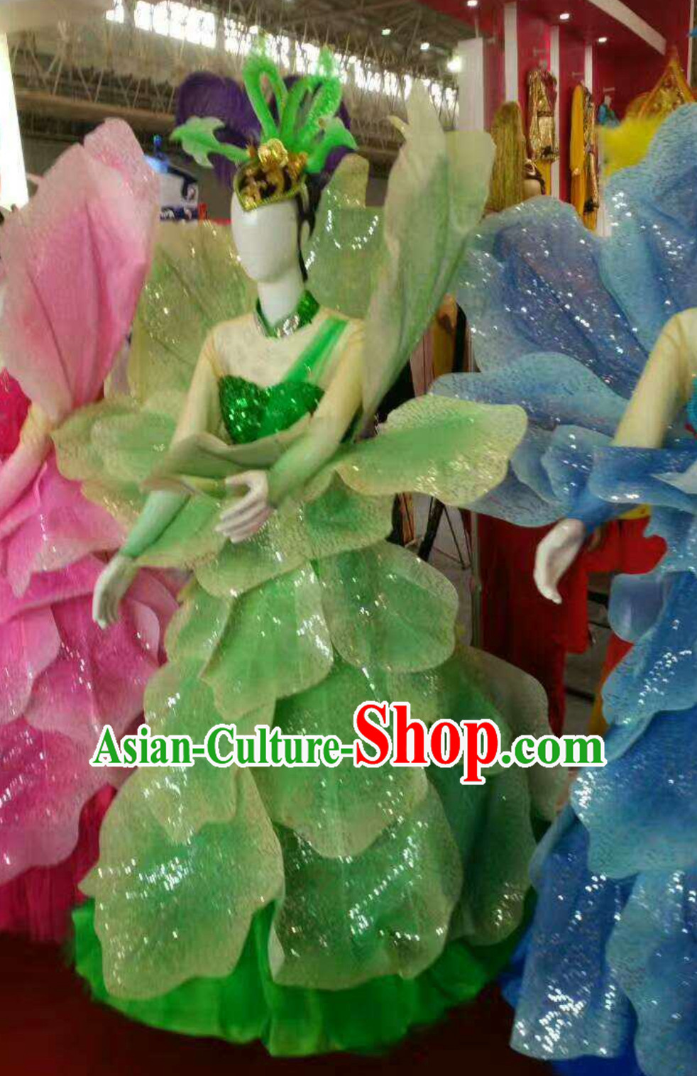 Green Chinese Classical Flower Dance Costume Dancing Costumes and Headpieces Complete Set for Women