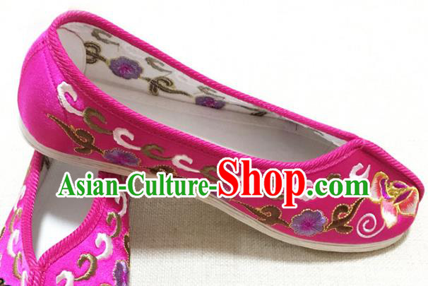 Asian Chinese Shoes Wedding Shoes Princess Shoes, Traditional China Handmade Hanfu Rosy Embroidered Shoes