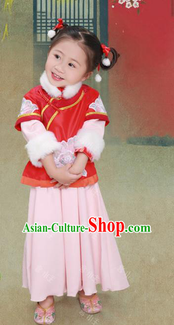 Traditional Chinese Qing Dynasty Palace Lady Costume Ancient Manchu Princess Clothing for Kids