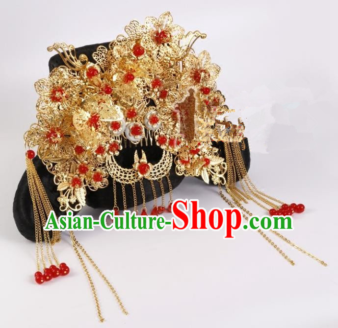 Chinese Handmade Classical Qing Dynasty Hair Accessories Ancient Manchu Lady Headwear Hairpins for Women