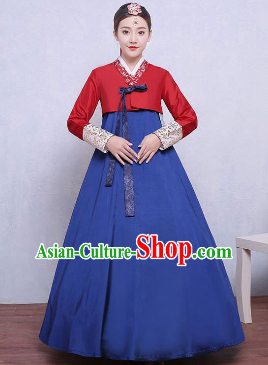 Asian Korean Dance Costumes Traditional Korean Dress Hanbok Clothing Red Blouse and Navy Skirt for Women