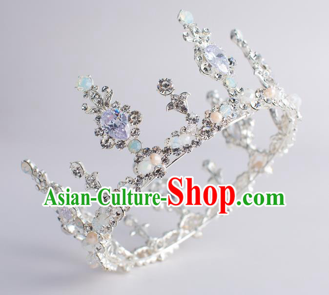 Handmade Classical Wedding Hair Accessories Bride Baroque Crystal Royal Crown Hair Coronet for Women