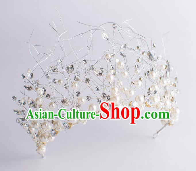 Handmade Classical Wedding Hair Accessories Bride Baroque Pearls Royal Crown Hair Coronet for Women
